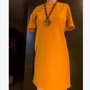 60's vintage mod mustard yellow shift dress sz med